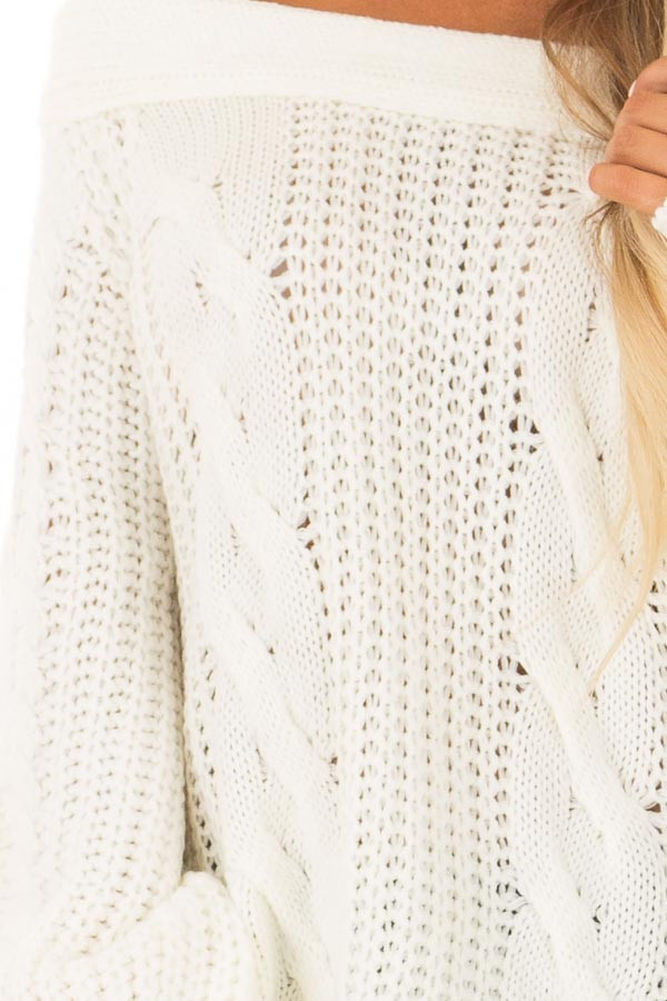Cream Long Sleeve Off The Shoulder Knit Sweater Lime Lush Boutique