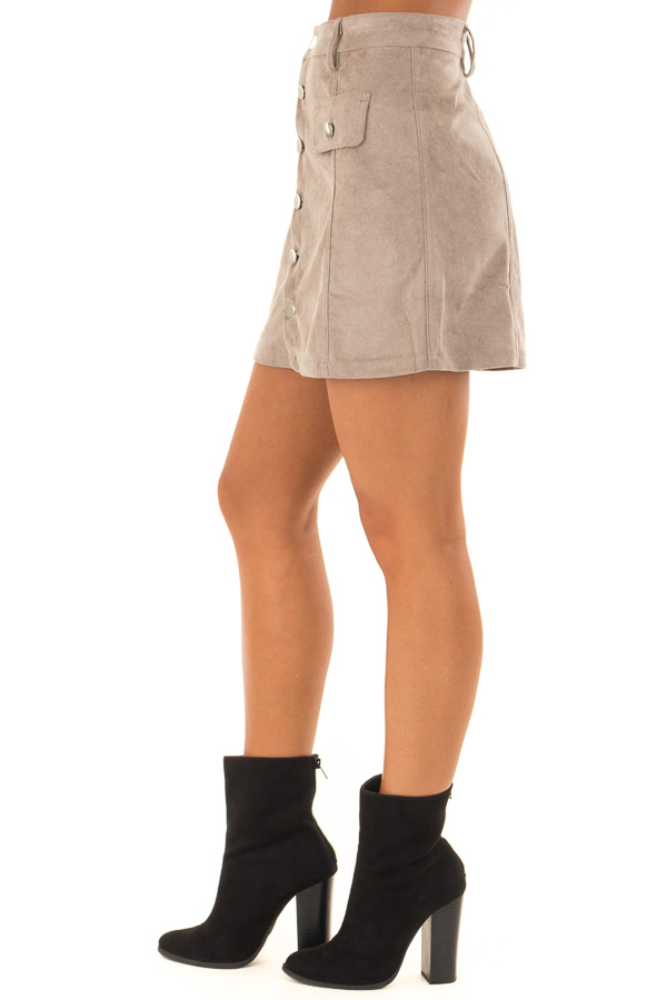 2c8df4337892 ... front view · Taupe Faux Suede Button Down Mini Skirt side view ...