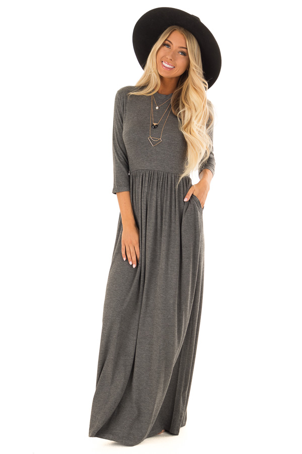 Flint Grey Mock Neck Maxi Dress With 3 4 Sleeves Lime Lush Boutique