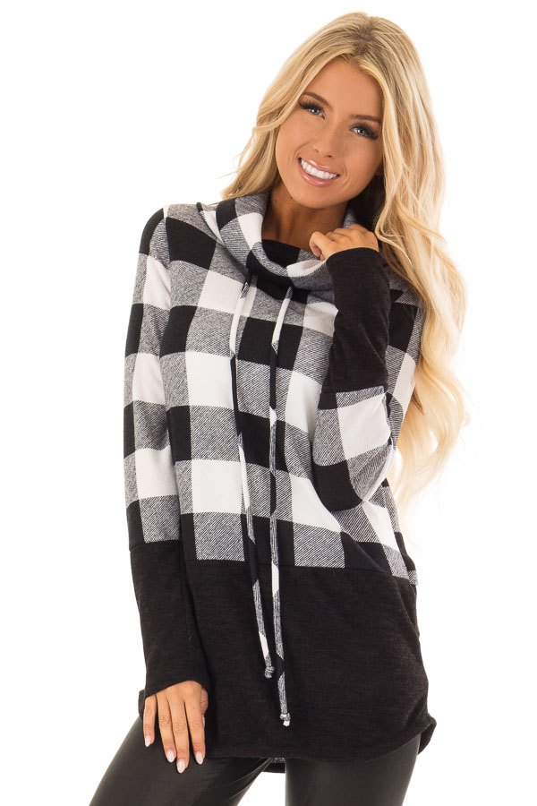 Black And White Plaid Cowl Neck Sweater Lime Lush Boutique