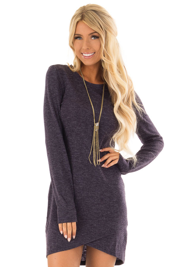 navy two tone long sleeve dress with tulip hem lime lush boutique