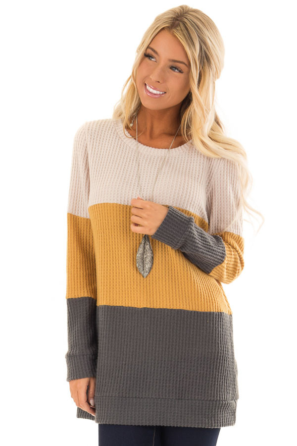 mustard color block thermal long sleeve top lime lush boutique