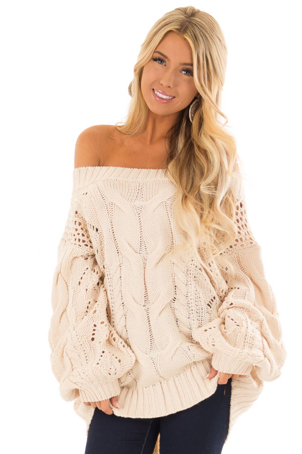 Ivory Off Shoulder Cable Knit Sweater With Crochet Detail Lime