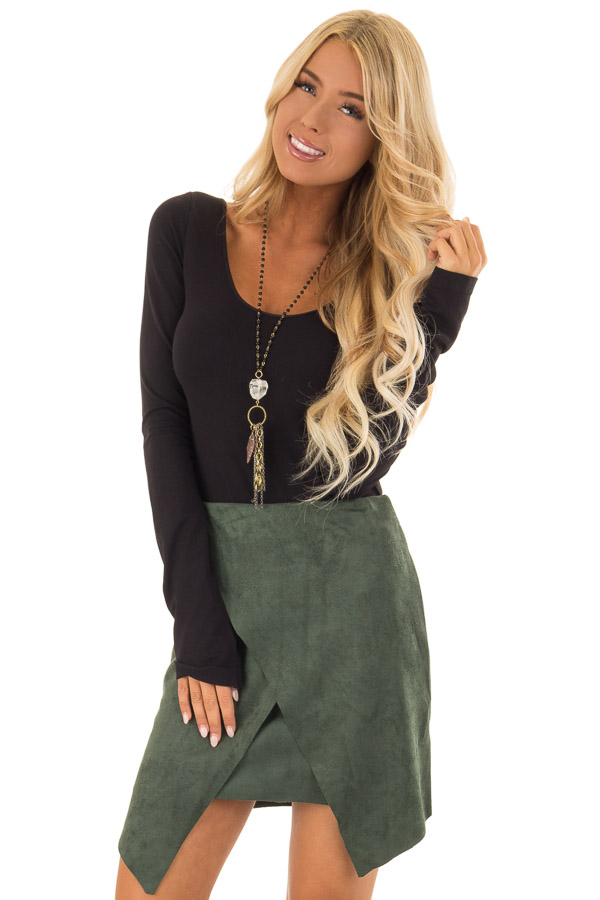 3fc7ee8c1fa2 Hunter Green Faux Suede Wrap Mini Skirt - Lime Lush Boutique