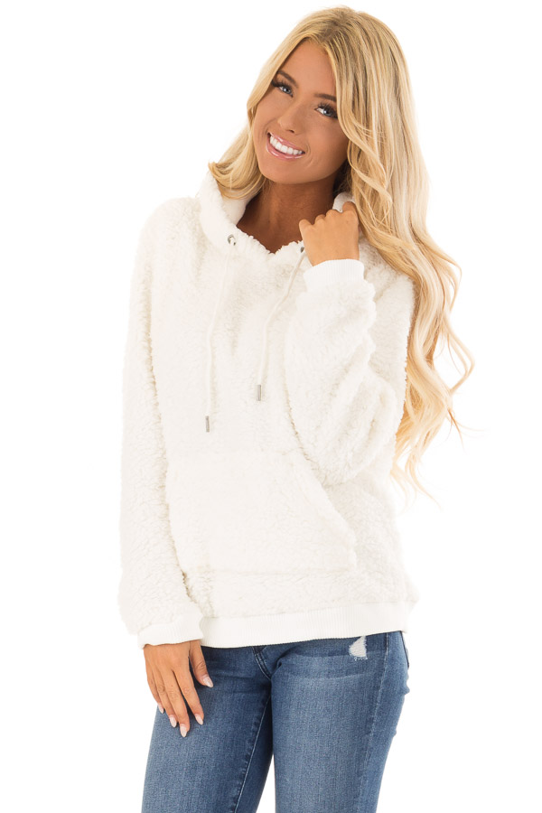 d06a02c5e6 Ivory Super Soft Pullover Hoodie with Front Pocket front close up