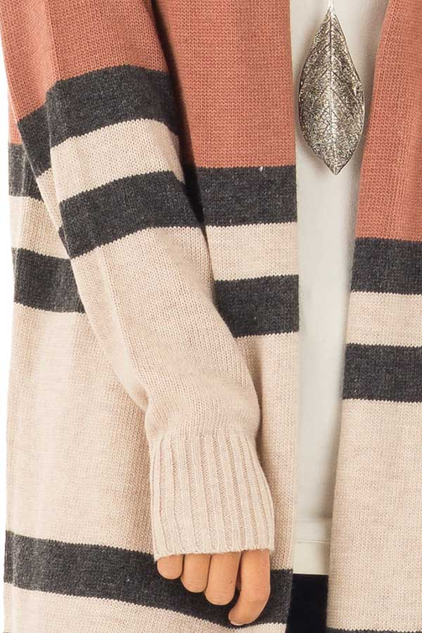 Rust And Oatmeal Striped Color Block Long Sleeve Cardigan