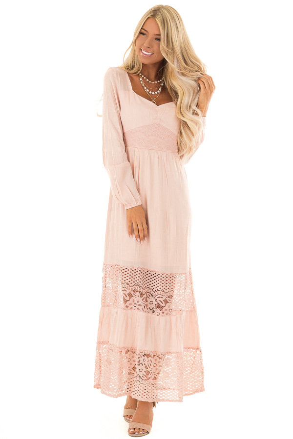 Blush Long Sleeve Maxi Dress With Lace Contrast Lime