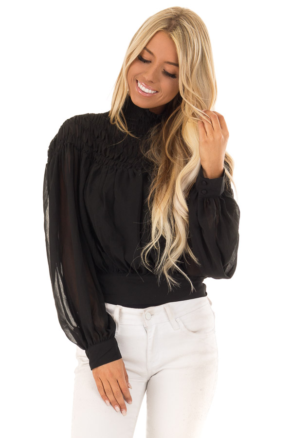 Black Sheer Long Sleeve Blouse With Smocked Detail Lime Lush Boutique