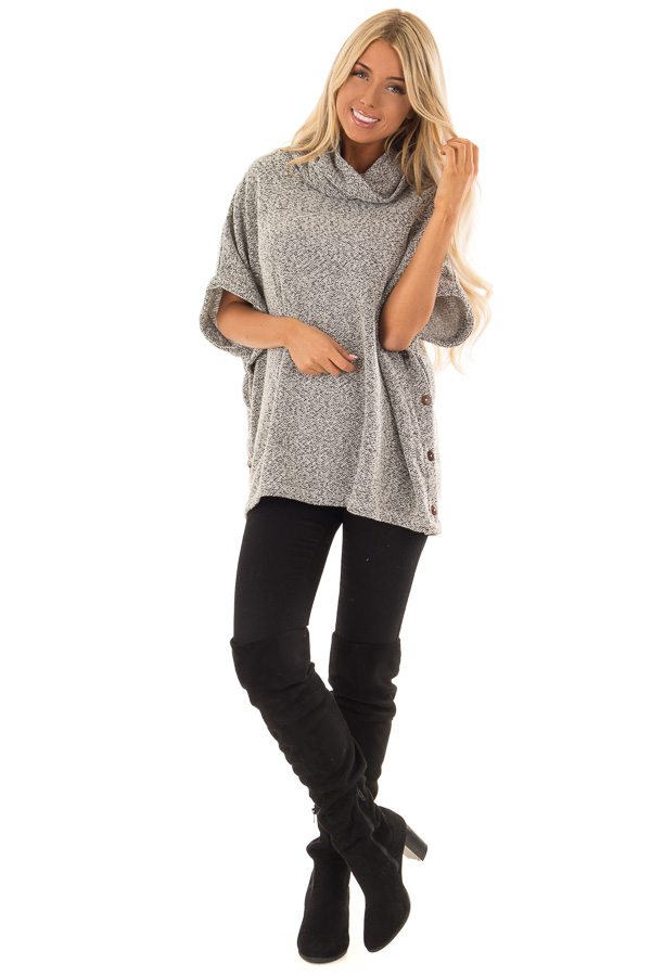 Charcoal Two Tone Cowl Neck Poncho Sweater With Buttons Lime Lush