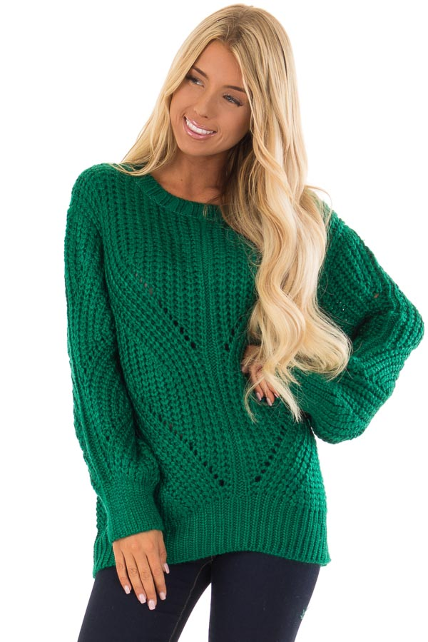 Kelly Green Long Sleeve Cable Knit Sweater Lime Lush Boutique