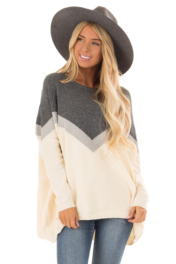 Cream And Navy Color Block Chevron Sweater Lime Lush