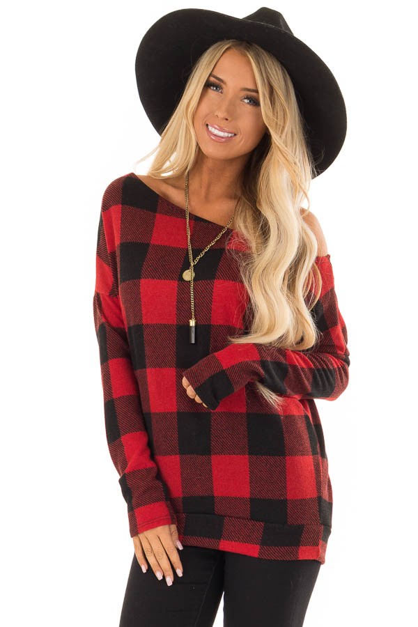 Cherry Red And Black Plaid Off Shoulder Long Sleeve Top Lime Lush