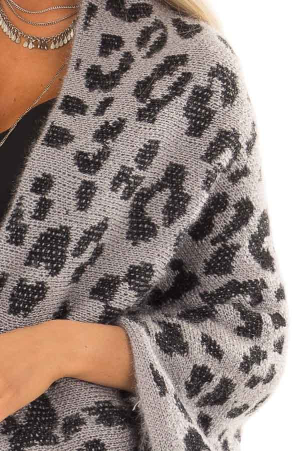 Iron Grey Leopard Print Cardigan With Batwing Sleeves Lime Lush