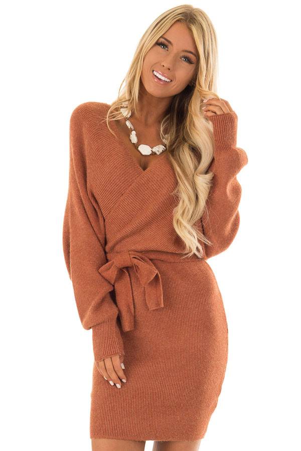 Rust Wrap Style Long Sleeve Sweater Dress With Waist Tie