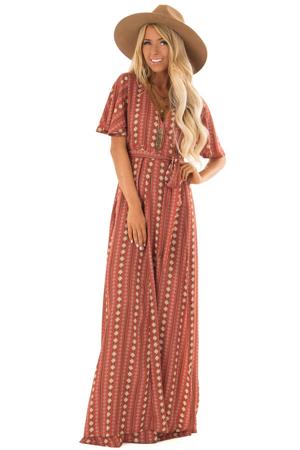 Brick Short Sleeve Wrap Style Maxi Dress With Waist Tie