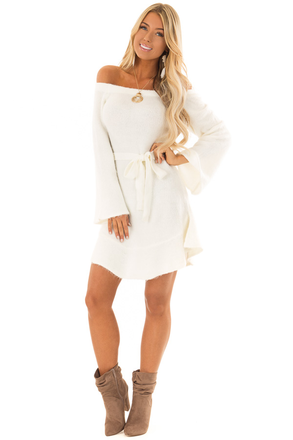 Ivory Off The Shoulder Sweater Dress With Tie Detail Lime Lush