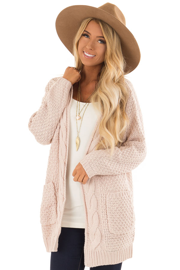 blush thick cable knit open cardigan with pockets lime lush boutique