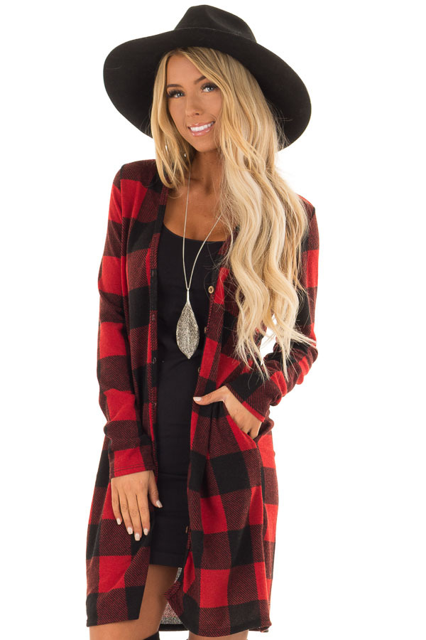 Red And Black Checkered Long Sleeve Cardigan With Pockets Lime