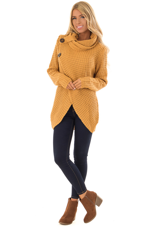 Camel Long Sleeve Cowl Neck Sweater With Button Detail