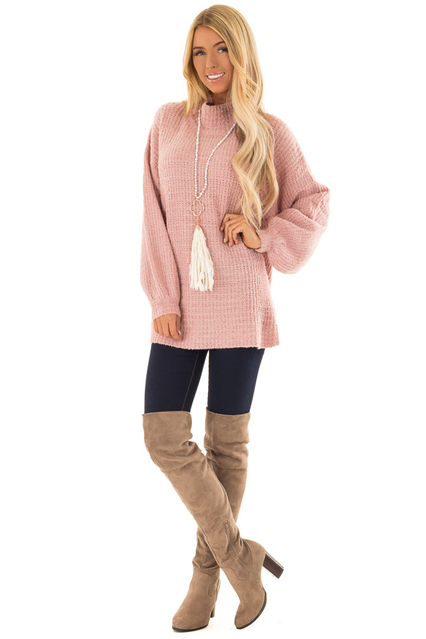 Blush Pink High Neck Sweater With Oversized Long Sleeves Lime Lush