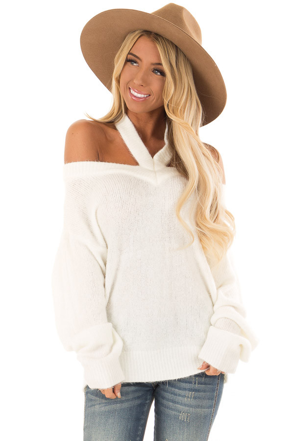 Ivory Off The Shoulder Sweater With Halter Neck Lime Lush Boutique