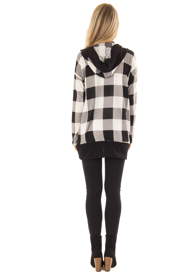 c04f98e80e7a0 ... Black and Ivory Checkered Open Front Cardigan with Hood back full body  ...
