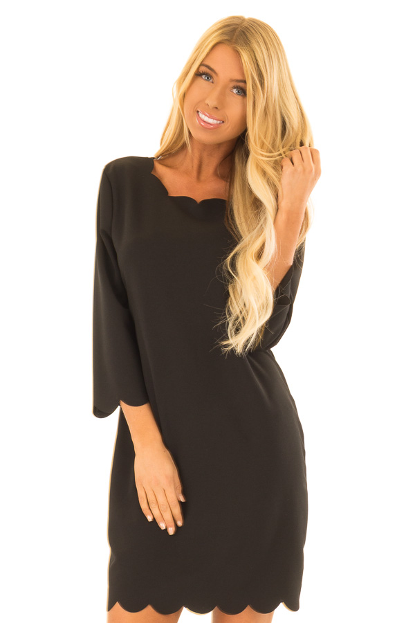 Black Scalloped Dress With 34 Sleeves Lime Lush Boutique