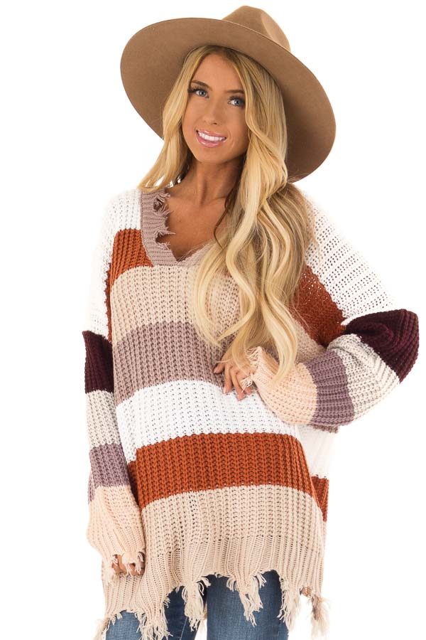 0c893df9b White Mauve and Rust Striped Long Sleeve Sweater - Lime Lush Boutique