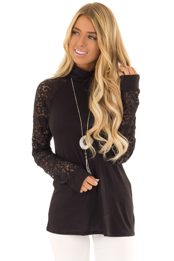 19e352aa9174 Black Turtle Neck Top with Sheer Lace Long Sleeves - Lime Lush Boutique