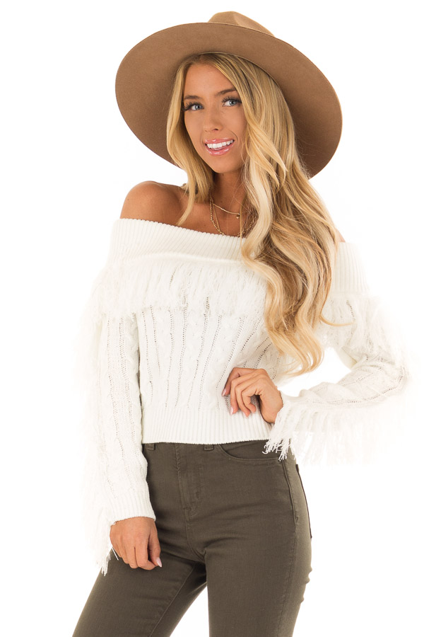 ivory off the shoulder long sleeve crop sweater with fringe lime
