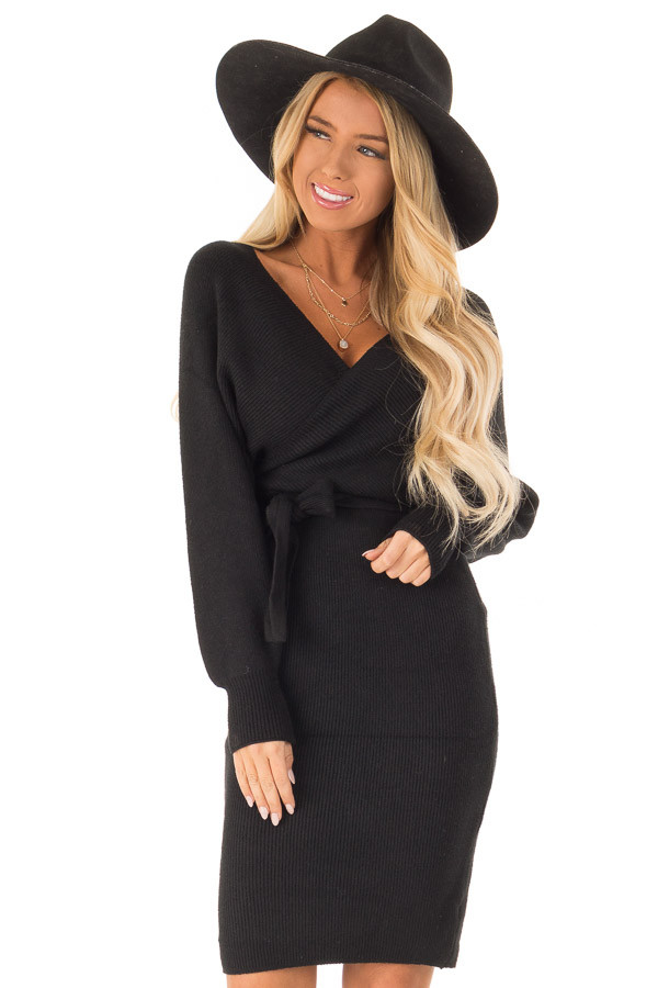 Black Wrap Style Long Sleeve Sweater Dress With Waist Tie Lime