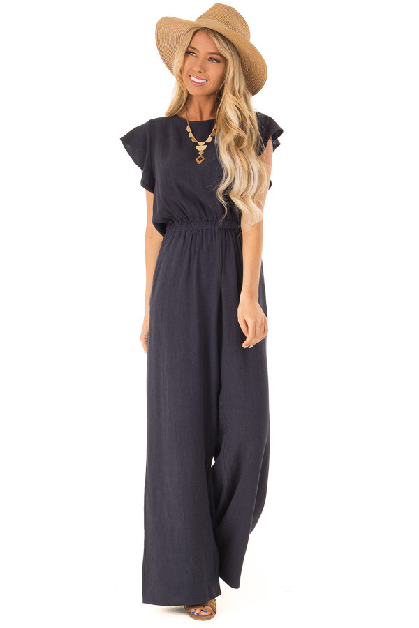 Dark Navy Jumpsuit With Short Sleeves And Side Pockets Lime Lush
