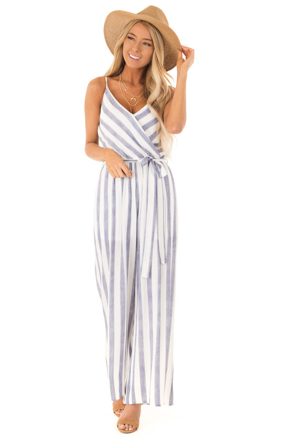 Navy And Off White Striped Jumpsuit With Waist Tie Lime Lush Boutique