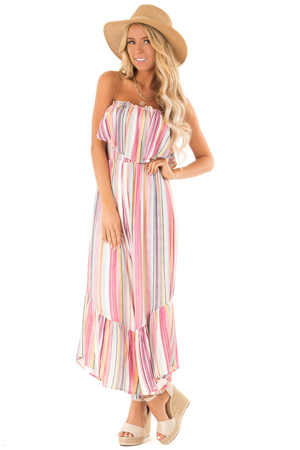 Multicolor Striped Off The Shoulder Jumpsuit With Ruffles Lime