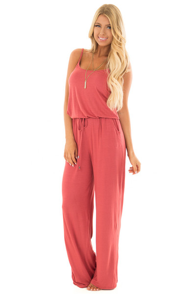 4fd701c8ed5 Paprika Sleeveless Jumpsuit with Waist Tie and Front Pockets
