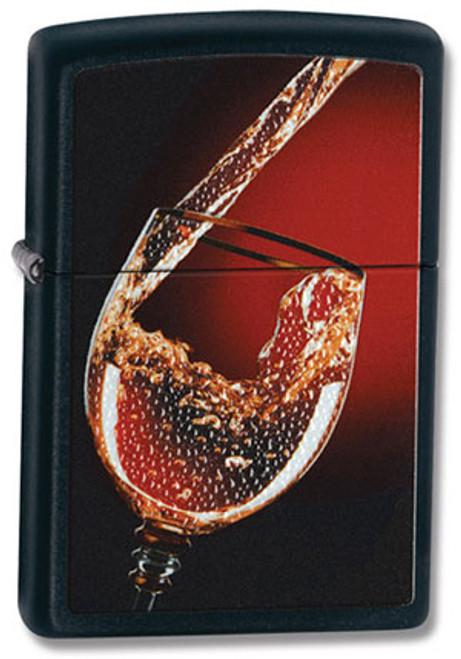 Zippo Lighter Black Glass of Wine 28179