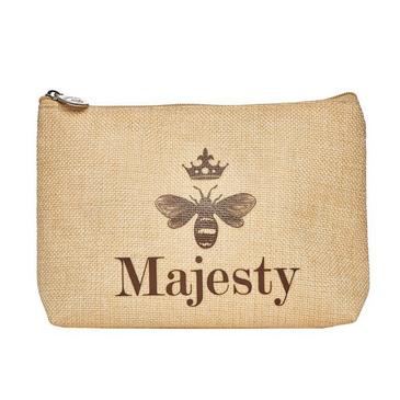 Majesty cosmetics bag zipped burlap bag