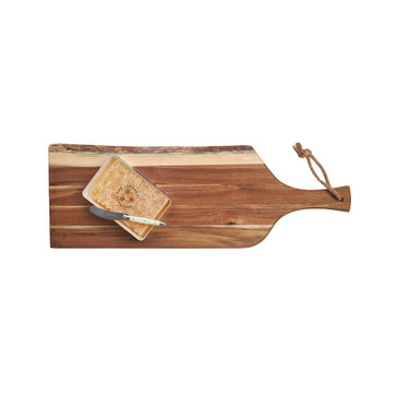 Acacia Honeycomb Platter Gift Set includes platter, knife, and 12.3oz honeycomb