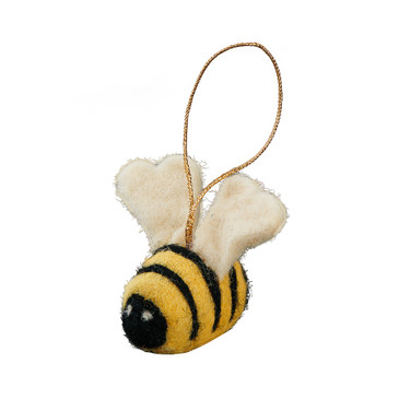 This little felted bee ornament will add some buzz to your tree.
