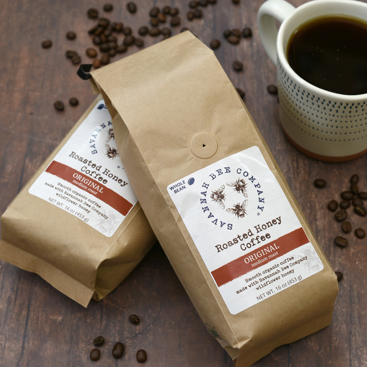 Savannah Bee Company honey imparts a subtle, sweet mellowness to this rich, full-bodied coffee roasted at Charleston Coffee Exchange.