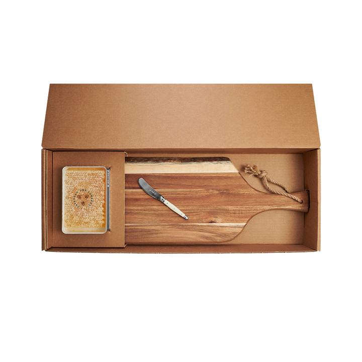 Acacia Honeycomb Platter Gift Set includes platter, knife, and 12.3oz honeycomb in a gift box