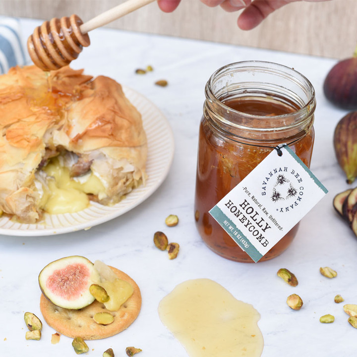 Savannah Bee Company Holly Honeycomb is the perfect table honey and is also highly recommended for baking.