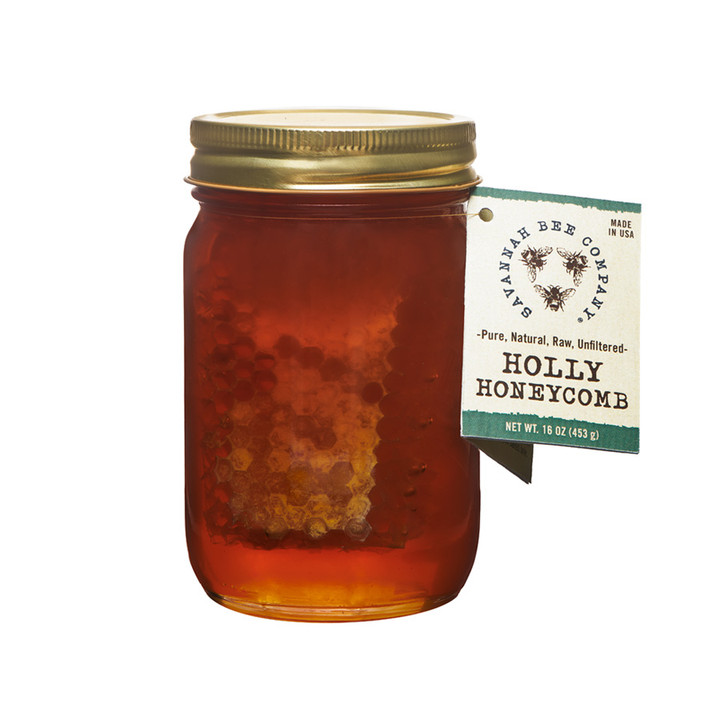 Savannah Bee Company Holly Honeycomb comes to you raw, unfiltered, and straight from the beehive.