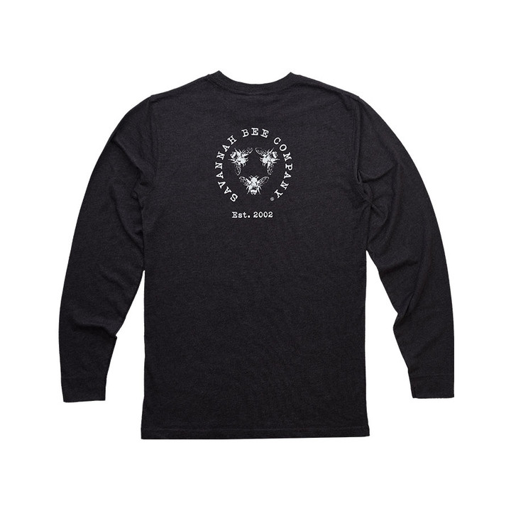 Long Sleeve Savannah Bee Logo Tee is made with 60% organic cotton and 40% polyester.