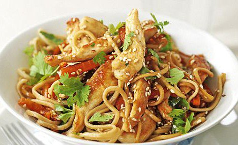 Asian-Style Noodles with Spicy Honey Grilled Chicken