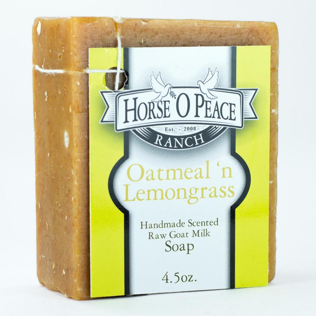 Handmade Goat Milk Soap 100% Raw   Oatmeal and Lemongrass Goat Milk Soap   Horse O Peace