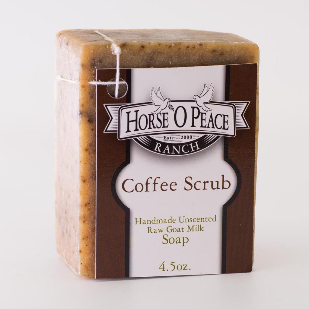 Handmade Goat Milk Soap 100% Raw | Coffee Scrub Goat Milk Soap | Horse O Peace