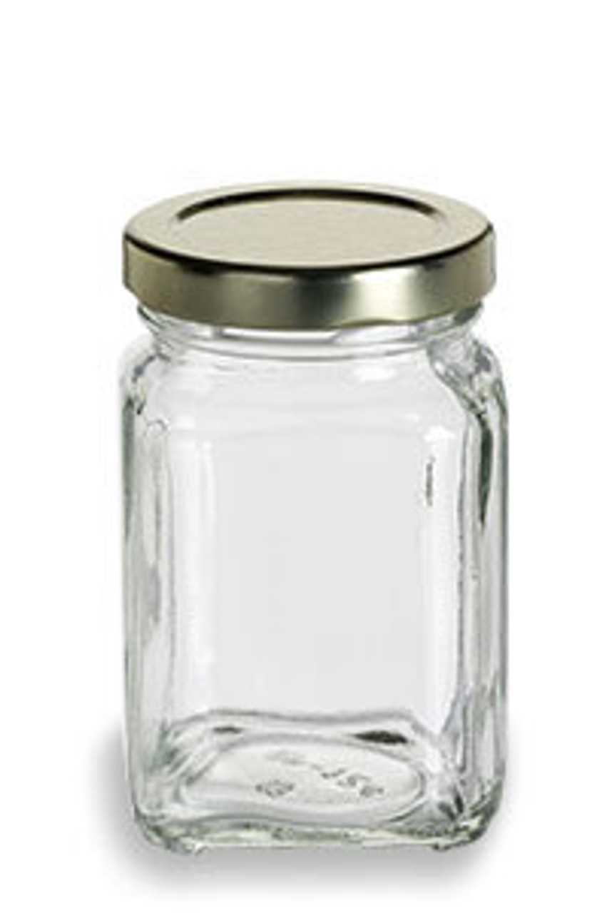 3.75 oz Glass Square Victorian Jar with Gold Lid