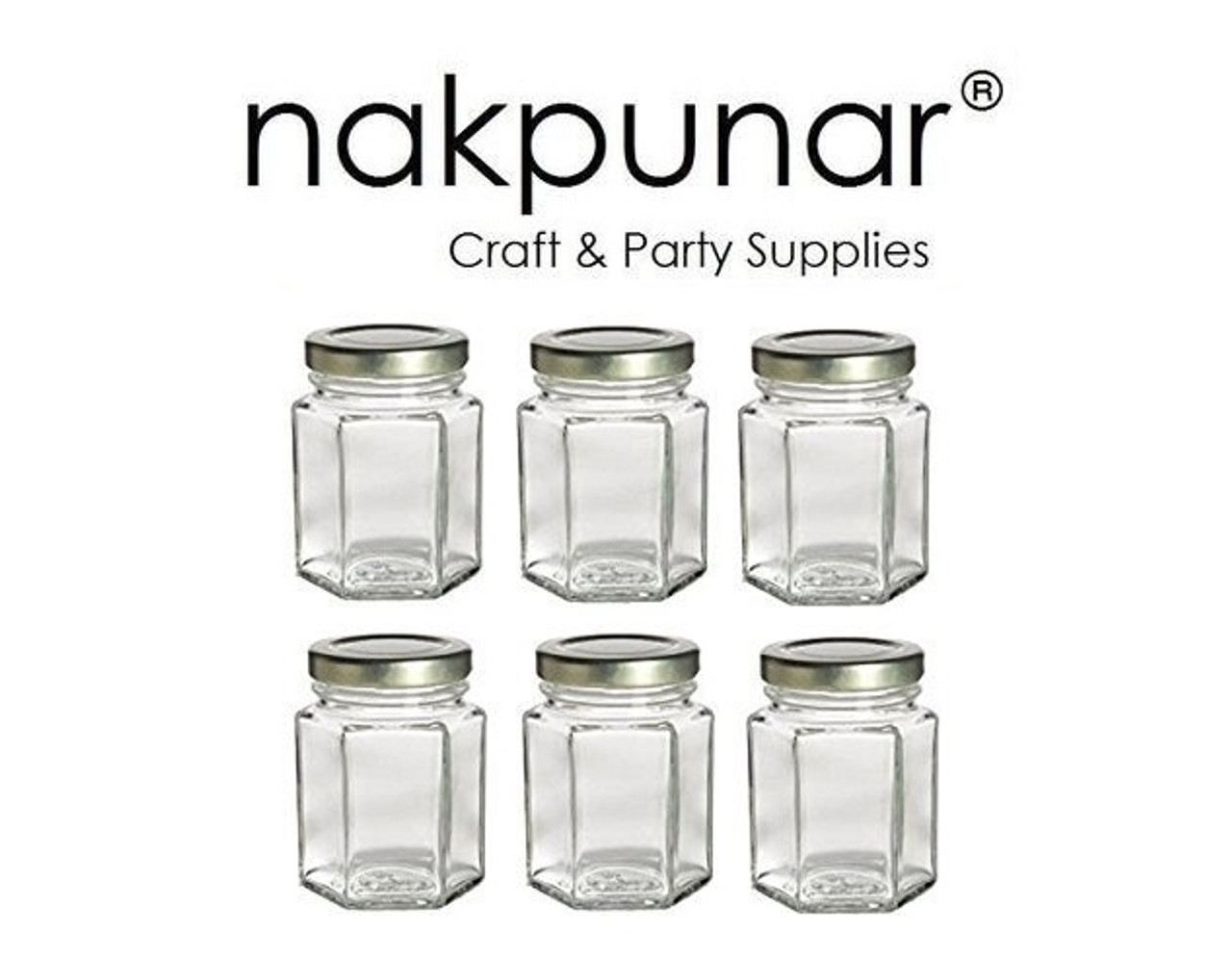 3.75 oz (110 ml) Hexagon Jars with plastisol lined Gold Lid