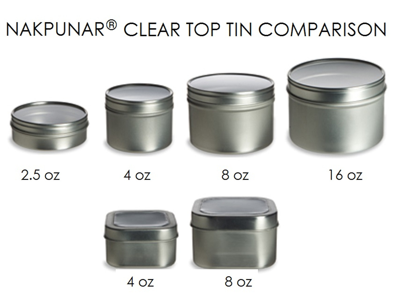 Set of 6 16 oz Tin Container w Clear Top Cover NAKPUNAR